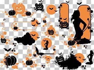 Halloween Pumpkin Ghost Silhouette Vine PNG