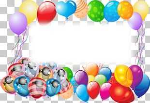 Happy Birthday Frame With Balloons PNG