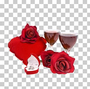 Garden Roses Wine Glass Stemware Red PNG