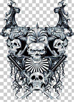Skull Samurai Mask Sticker PNG