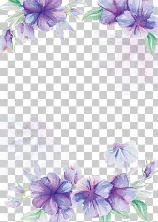 Wedding Invitation Flower Watercolor Painting Purple PNG