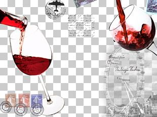 Red Wine Wine Glass Paper Wall PNG