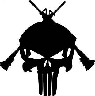 Punisher Human Skull Symbolism Stencil Art PNG