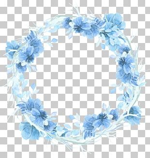 Wreath Watercolour Flowers Blue Watercolor Painting PNG