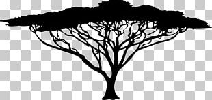 African Trees Silhouette Drawing PNG