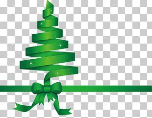 Christmas Tree Green Ribbon PNG