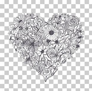 Drawing Black And White Flower PNG