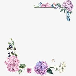 Purple Blossom Borders PNG