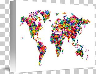 World Map Canvas Print Gallery Wrap PNG