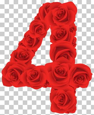 Red Roses Four Number PNG