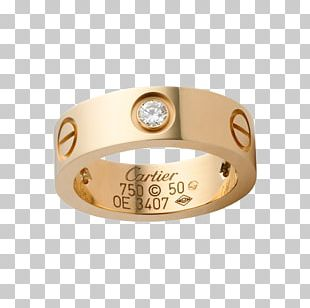Cartier Ring Love Bracelet Diamond Colored Gold PNG