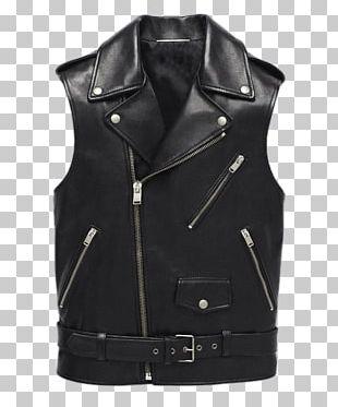 Leather Jacket Leather Jacket Clothing Waistcoat PNG