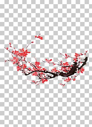 Plum Blossom Ink Wash Painting PNG