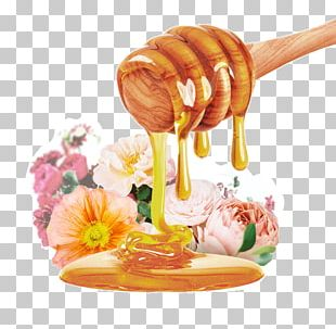 Bee Honeycomb Comb Honey Syrup PNG