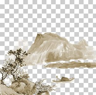 China Landscape Painting India Ink Drawing PNG