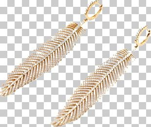 Earring Jewellery Diamond Gold Feather PNG