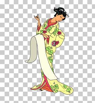 Cartoon Geisha Illustration PNG