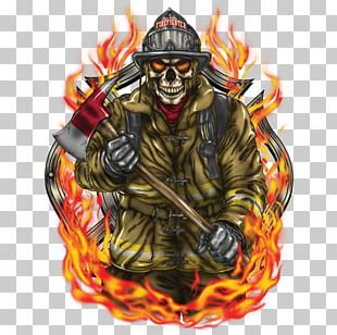 Firefighter F.D.18 T-shirt Flame Fire Department PNG