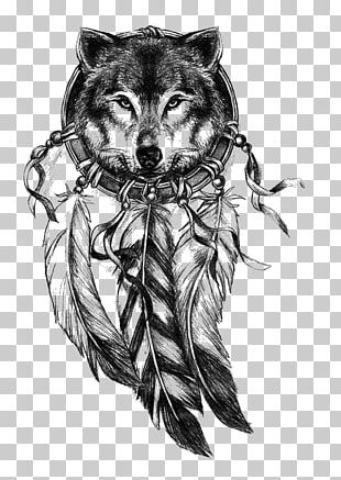 Gray Wolf Dreamcatcher Tattoo Drawing PNG