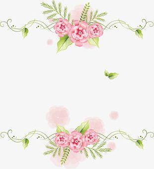 Pink Flowers Green Leaf Frame Decoration PNG