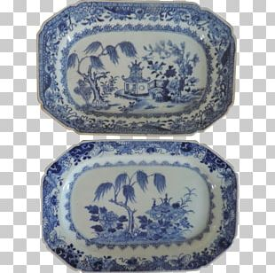 Blue And White Pottery Ceramic Cobalt Blue Platter Plate PNG