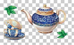 Teapot Coffee Teacup Decoupage PNG