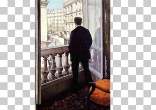 Young Man At His Window Painting Paris Street; Rainy Day Impressionism Art PNG