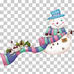 Snowman Christmas Cartoon Illustration PNG