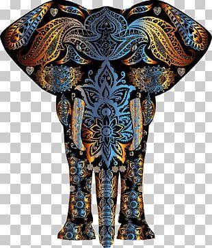 Elephant Gold Flower Pattern PNG