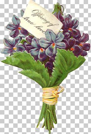 Victorian Era Violet Floral Design Antique Flowerpot PNG