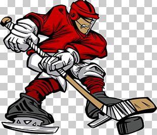 Ice Hockey Player Cartoon Hockey Stick PNG