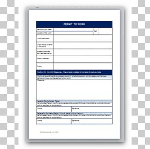 Document Template Permit To Work Work Permit Computer Software PNG