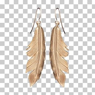 Earring Feather Gold Leaf Bird PNG