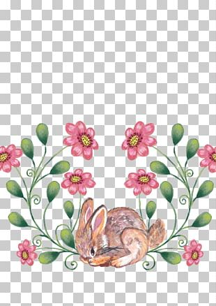 Spring Bunny Floral Design Chocolate Bunny PNG