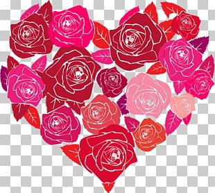 Valentine's Day Heart-shaped Hand-painted Roses PNG