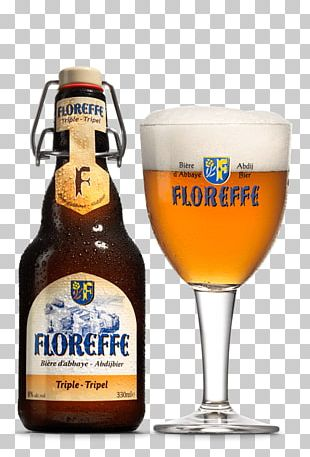 Floreffe Beer Triple With Glass PNG