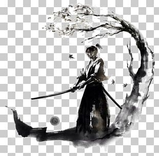 Japan Samurai Drawing Bushido Ink PNG