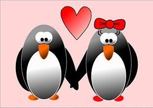 Penguin Wedding Invitation Valentine's Day Heart PNG