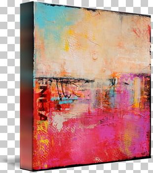 Modern Art Acrylic Paint Painting Abstract Art Gallery Wrap PNG