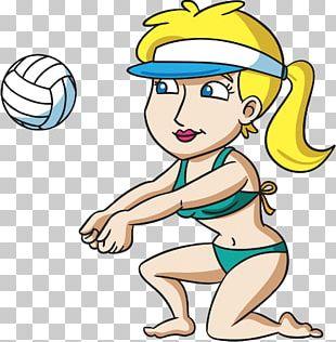 Beach Volleyball Woman Cartoon PNG