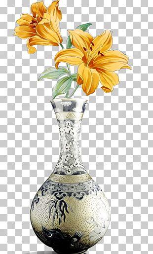 Vase Pink Flowers Porcelain PNG