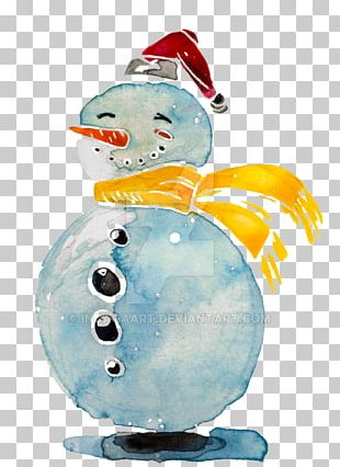 Snowman Watercolor Painting Illustration PNG