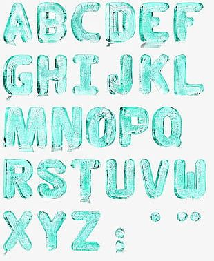 Free Ice Blue Water Alphabet Buckle Material PNG