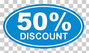 50% Discount Blue Sticker PNG