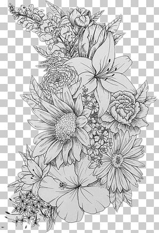 Sleeve Tattoo Flower Design Flash PNG