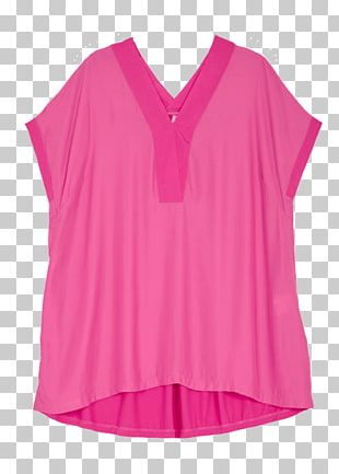 Sleeve Blouse Pink M Neck Dress PNG