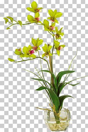 Vase Artificial Flower Dendrobium Floral Design PNG