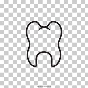 Tooth Drawing Molar Black And White Coloring Book PNG