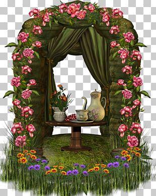 Arch Window Decoupage Floral Design PNG