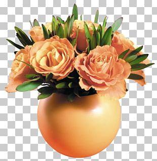 Rose Flower Vase Yellow PNG